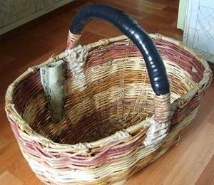 С внутренней стороны корзины укрепляем самодельные ножны, сделанные из мягкого пластика, или линолеума, скрепленного степлером