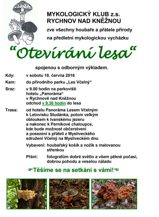В ближайшую субботу, 18 июня, в городе Rychnov nad Kněžnou общество проведет акцию «Открытие леса», в ходе которой новичков научат отличать и правильно собирать грибы.