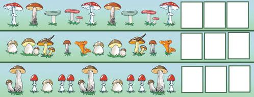 Продолжи последовательность и нарисуй в клетках недостающие грибы
